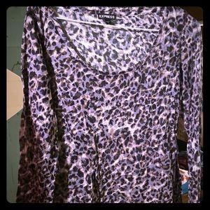 Express leopard long sleeve top